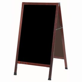 "Aarco Solid Oak Wood w/ Cherry Finish A-Frame Sidewalk Black Chalkboard - 24""W x 42""H"