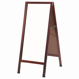 """Aarco Solid Cherry Finish A-Frame Sidewalk White Marker Board 18""""W x 42""""H by"""
