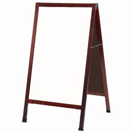 """Aarco Solid Cherry Finish A-Frame Sidewalk White Marker Board 24""""W x 42""""H by"""