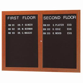 "Aarco 2 Door Aluminum Frame Wood Look, Oak Enclosed Letter Board 48""W x 36""H by"