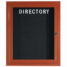 "Aarco 1 Door Aluminum Frame Wood Look, Cherry Enclosed Letter Board - 30""W x 36""H"