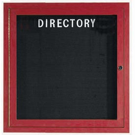 "Aarco 1 Door Aluminum Frame Wood Look, Cherry Enclosed Letter Board 36""W x 36""H by"