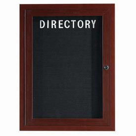 "Aarco 1 Door Aluminum Frame Wood Look, Walnut Enclosed Letter Board 18""W x 24""H by"