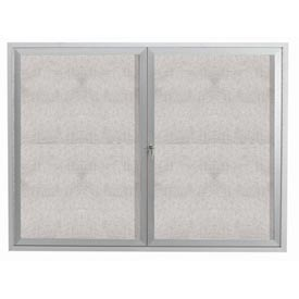 "Aarco 2 Door Aluminum Framed Enclosed Bulletin Board - 60""W x 48""H"