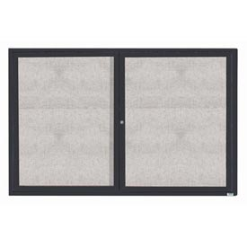 "Aarco 2 Door Aluminum Framed Enclosed Bulletin Board Bronze Anod. - 72""W x 48""H"