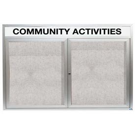 "Aarco 2 Door Enclosed Alum Framed Bulletin Board w/ Header, Illuminated - 72""W x 48""H"
