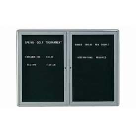 "Aarco 2 Door Design Enclosed Letter Board Medium Grey - 48""W x 36""H"