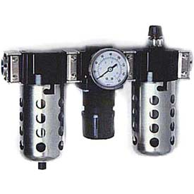 "Arrow 3/4"" Modular FRL W/End Ports C33356W, Gauge, Metal Bowl W/Sight, Manual & Ultra Fog Lubricator"