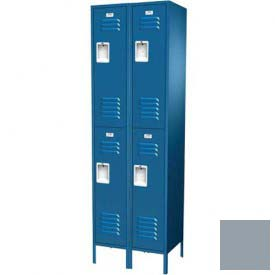 "Traditional Double Tier Locker, 3 Wide, 15""W X 15""D X 36""H, Assembled, Gray"