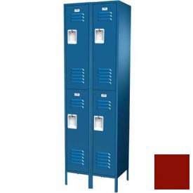 "Traditional Double Tier Locker, 3 Wide, 15""W X 18""D X 36""H, Assembled, Burgundy"