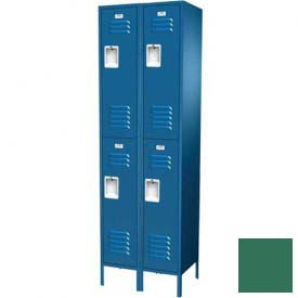 "Traditional Double Tier Locker, 2 Wide, 18""W X 18""D X 36""H, Assembled, Mist Green"