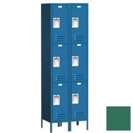 "Traditional Three Tier Locker, 2 Wide, 12""W X 15""D X 24""H, Assembled, Mist Green"
