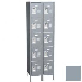 "Traditional Five Tier Locker, 3 Wide, 12""W X 18""D X 12""H, Assembled, Gray"