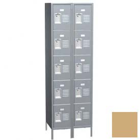 "Traditional Five Tier Locker, 2 Wide, 15""W X 15""D X 12""H, Assembled, Almond"