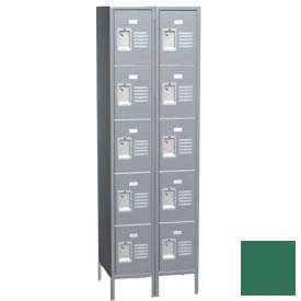 "Traditional Five Tier Locker, 2 Wide, 15""W X 15""D X 12""H, Assembled, Mist Green"