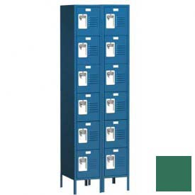 "Traditional Six Tier Locker, 2 Wide, 12""W X 12""D X 12""H, Assembled, Mist Green"