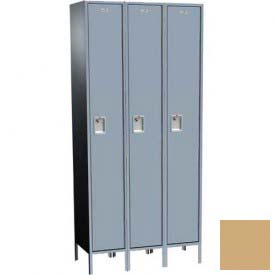 "Traditional Plus Single Tier Locker, 3 Wide, 15""W X 18""D X 72""H, Assembled, Almond"