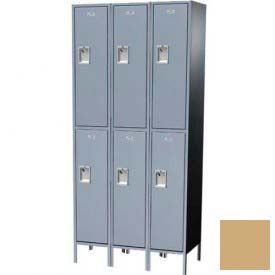 "Traditional Plus Double Tier Locker, 3 Wide, 15""W X 18""D X 36""H, Assembled, Almond"