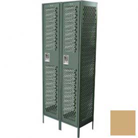 "Competitor Ventilated Single Tier Locker, 2 Wide, 15""W X 15""D X 60""H, Assembled, Almond"