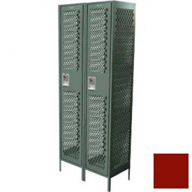 "Competitor Ventilated Single Tier Locker, 2 Wide, 15""W X 15""D X 72""H, Assembled, Burgundy"
