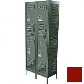 "Competitor Ventilated Double Tier Locker, 3 Wide, 12""W X 15""D X 30""H, Assembled, Burgundy"