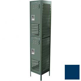 "Competitor Ventilated Double Tier Locker, Adder,1 Wide, 12""W X 15""D X 36""H, Unassembled, Blue Frost"