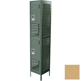 "Competitor Ventilated Double Tier Locker, 1 Wide, 15""W X 15""D X 36""H, Assembled, Almond"
