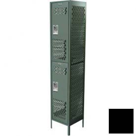 "Competitor Ventilated Double Tier Locker, 3 Wide, 15""W X 15""D X 36""H, Assembled, Black"