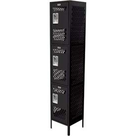 "Competitor Ventilated Three Tier Locker, 2 Wide, 12""W X 15""D X 24""H, Assembled, Black"