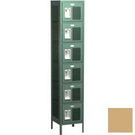"Competitor Ventilated Six Tier Locker, 1 Wide, 12""W X 12""D X 12""H, Assembled, Almond"