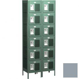 "Competitor Ventilated Six Tier Locker, 3 Wide, 15""W X 15""D X 12""H, Assembled, Gray"