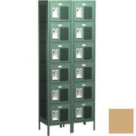 "Competitor Ventilated Six Tier Locker, 3 Wide, 15""W X 18""D X 12""H, Assembled, Almond"