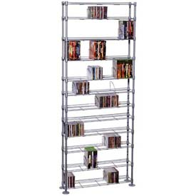 Atlantic® Maxsteel 12 Tier Multimedia Rack For 864 CDs or 450 DVDs and Blu-Ray in Silver