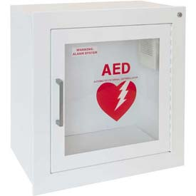 "AED Cabinet Fully Recessed, Flat Trim X 6 3/4"", 85 Db Audible Alarm, Steel"