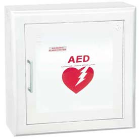 "AED Cabinet Semi Recessed, 3"" Rolled Trim X 6 3/4"", 85 Db Audible Alarm, Steel"