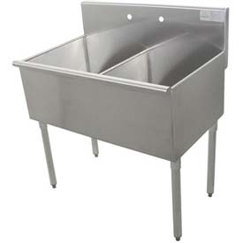 Budget Kitchen Sink, 2 Compartment, 24L x21W Bowl, 430 Stainless Steel