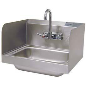 """Wall Mounted Hand Sink With 7-3/4"""" Side Splashes,10L x 14W Bowl"""