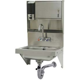 Soap & Towel Dispenser Hand Sink Unit, With Side Supports, 10x14x5 Bowl