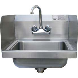 "Economy Hand Sink With 7-3/4"" Side Splashes, 10L x 14W Bowl by"