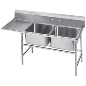 Regaline 2 Compart. Sink, 16L x 20W Bowl, 11H Splash, 18 Left Drainboard, 14 Ga.