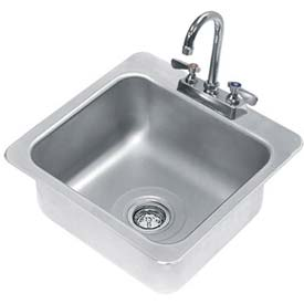 Drop In Sink, One Compartment 16L x 14W x 8D Bowl, 18 Gauge