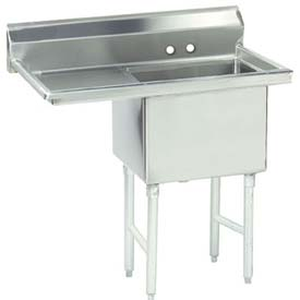 NSF Fabricated 1 Compartment Sink, 18L x 18W Bowl, 8-1/2 Splash, 24H Left Drainboard, 16Ga.