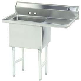 NSF Fabricated 1 Compartment Sink, 18L x 18W Bowl, 9 Splash,18H Right Drainboard, 18Ga.