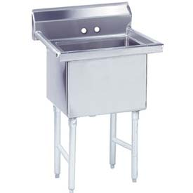 NSF Fabricated 1 Compartment Sink, 18L x 18W Bowl, 8-1/2 Splash, 14Ga.
