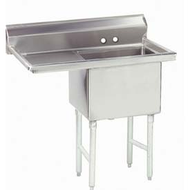 NSF Fabricated 1 Compartment Sink, 18L x 24W Bowl, 8-1/2 Splash, 24H Left Drainboard, 14Ga.