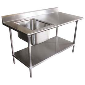 advance tabco kms 11b 305r x work table wright sink - Stainless Steel Work Table With Backsplash