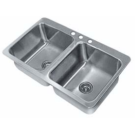 Smart Series Drop In Sink, Two Compartment 20L x 16W x 12D Bowl, 18 Gauge