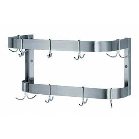 "Advance Tabco SW-24 24""W x 12""D Pot Rack, Wall-Mounted Double Bar w/ 12 Plated Double Hooks by"