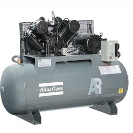 Atlas Copco AR-10, 10 HP, Two-Stage Piston Compressor, 120 Gal, Horizontal,175 PSIG,3-Phase 208-230V by