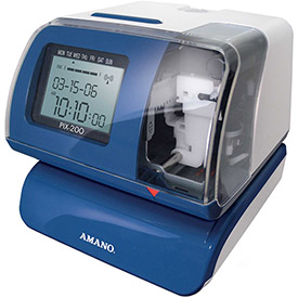 Amano Electronic Time Clock, Blue/White, PIX-200/040 by